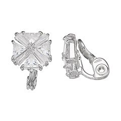 Napier Cubic Zirconia Cluster Clip-On Stud Earrings