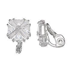 Napier Cubic Zirconia Nickel Free Cluster Clip-On Stud Earrings
