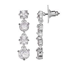 Napier Cubic Zirconia Linear Drop Earrings