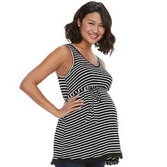 Maternity a:glow Striped Crochet Trim Tunic