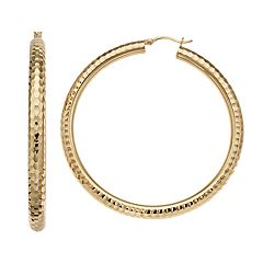 AMORE by SIMONE I. SMITH 18k Gold Over Silver Diamond Cut Tube Hoop Earrings