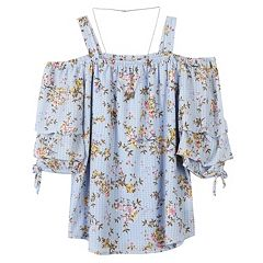 Girls 7-16 Speechless Off-The-Shoulder Tunic Top with Necklace