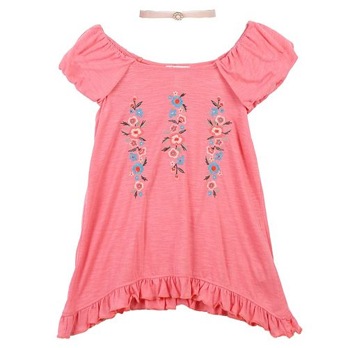Girls 7-16 Speechless Floral Embroidered Tunic Top with Choker Necklace