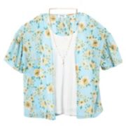 Girls 7-16 Speechless Floral Kimono & Tunic Top Set with Necklace