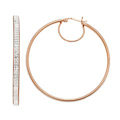 AMORE by SIMONE I. SMITH 18K Rose Gold Over Silver Crystal Hoop Earrings