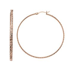AMORE by SIMONE I. SMITH 18k Rose Gold Over Silver Diamond Cut Hoop Earrings