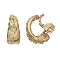 Napier Textured Twist Hoop Clip-On Earrings
