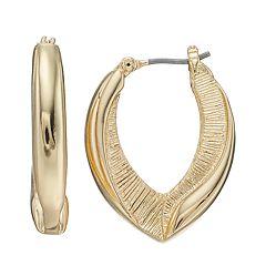 Napier Textured U-Hoop  Earrings