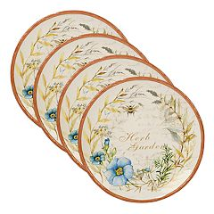 Certified International Herb Blossoms 4 pc Dinner Plate Set