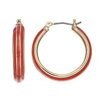 Napier Red Enamel Hoop Earrings