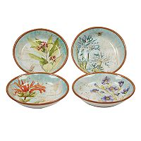 Certified International Herb Blossoms 4-piece Soup / Pasta Bowl Set