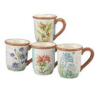 Certified International Herb Blossoms 4 pc Mug Set