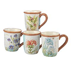 Certified International Herb Blossoms 4-piece Mug Set