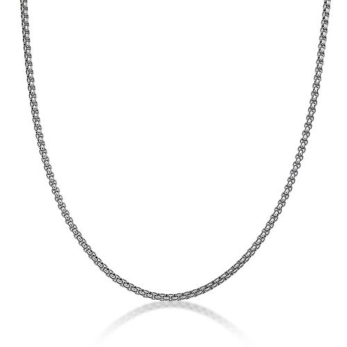 Mens LYNX Stainless Steel Round Box Chain Necklace - 24 in.