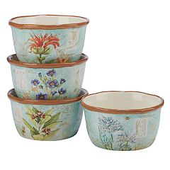 Certified International Herb Blossoms 4-piece Ice Cream Bowl Set