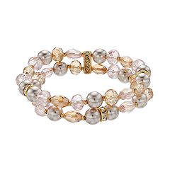 Napier Beaded & Simulated Pearl Double Row Stretch Bracelet