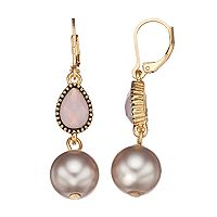 Napier Simulated Pearl Linear Drop Earrings