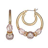 Napier Pink Beaded & Simulated Pearl Nickel Free Hoop Earrings