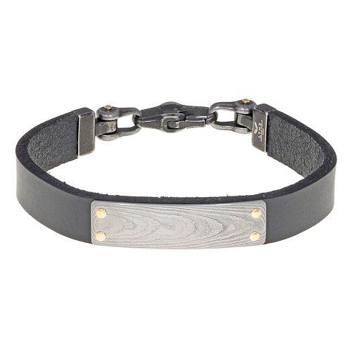 Men's LYNX Damascus Steel & Leather Bracelet