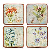 Certified International Herb Blossoms 4-piece Canape Plate Set