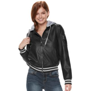 madden NYC Juniors' Hooded Faux-Leather Jacket