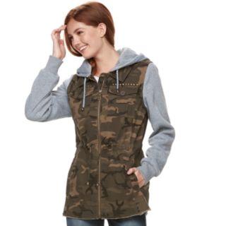 madden NYC Juniors' Camo Knit-Sleeve Jacket