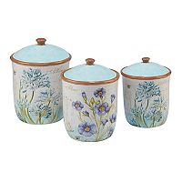 Certified International Herb Blossoms 3 pc Canister Set