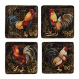 Certified International Gilded Rooster 4 pc Dinner Plate Set