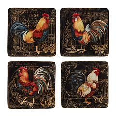 Certified International Gilded Rooster 4-piece Dinner Plate Set