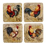 Certified International Gilded Rooster 4-piece Salad Plate Set