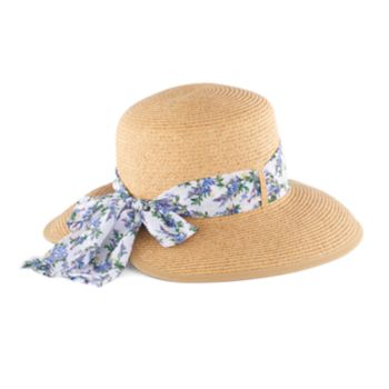 Women's Dana Buchman Backless Floppy Hat with Floral Scarf