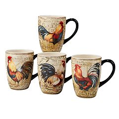 Certified International Gilded Rooster 4 pc Mug Set