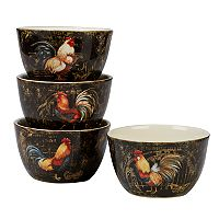 Certified International Gilded Rooster 4 pc Ice Cream Bowl Set