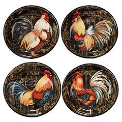 Certified International Gilded Rooster 4 pc Soup / Pasta Bowl Set
