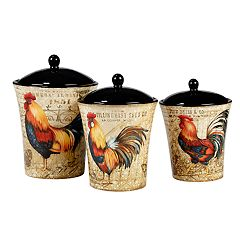 Certified International Gilded Rooster 3-piece Canister Set