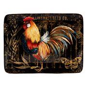 Certified International Gilded Rooster Rectangular Platter