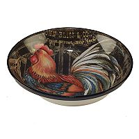 Certified International Gilded Rooster Pasta / Serving Bowl