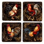 Certified International Gilded Rooster 4-piece Canape Plate Set