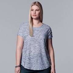 Plus Size Simply Vera Vera Wang Essential Windy Jacquard Tee