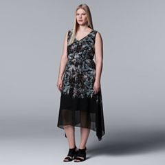 Plus Size Simply Vera Vera Wang Print Handkerchief Hem Dress
