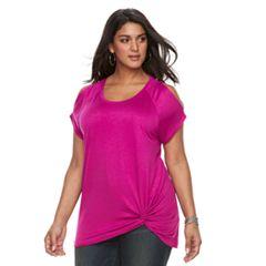 Plus Size Apt. 9® Twist Front Cold-Shoulder Top