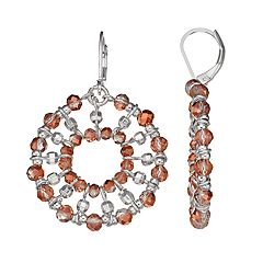 Napier Beaded Circle Drop Earrings