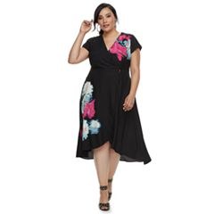 Plus Size Jennifer Lopez Wrap Midi Dress
