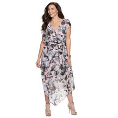 Plus Size Jennifer Lopez V-Hem Wrap Dress