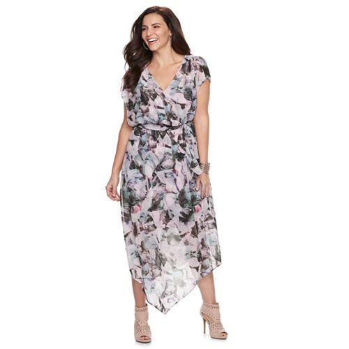 Plus Size Jennifer Lopez V Hem Wrap Dress