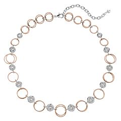 Napier Textured Circle Link & Disc Necklace