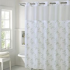 Hookless Spring Leaves Shower Curtain Liner Bright White Taupe