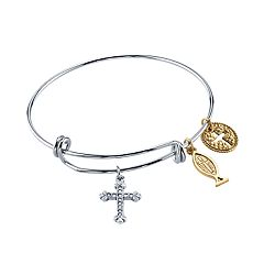 1928 14k Gold-Plated Cross Fish & Medallion Bangle Bracelet
