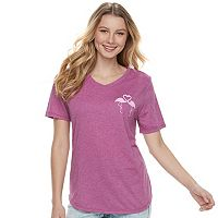 Juniors' Flamingo Heart Tee