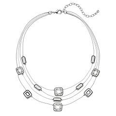 Napier Rectangle Link Multi Strand Necklace
